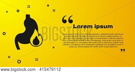 Black Stomach Heartburn Icon Isolated On Yellow Background. Stomach Burn. Gastritis And Acid Reflux,