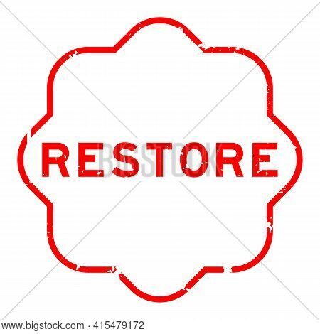 Grunge Red Restore Word Rubber Seal Stamp On White Background