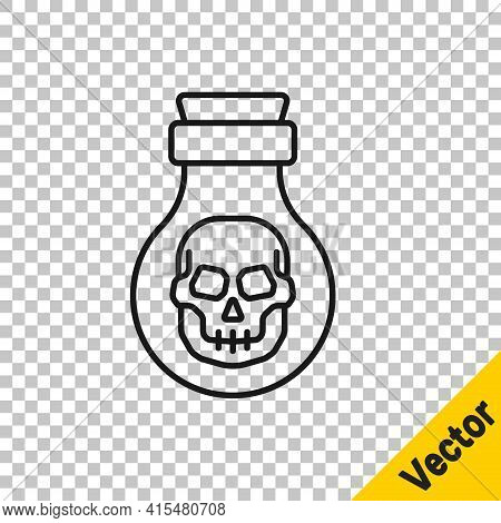 Black Line Poison In Bottle Icon Isolated On Transparent Background. Bottle Of Poison Or Poisonous C
