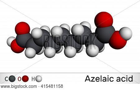 Azelaic Acid, Aza, Nonanedioic Acid Molecule. It Is Saturated Dicarboxylic Acid, Is Effective Agains