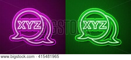 Glowing Neon Line Xyz Coordinate System Icon Isolated On Purple And Green Background. Xyz Axis For G