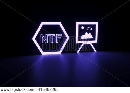 Nft Neon Concept Self Illumination Background 3d Illustration