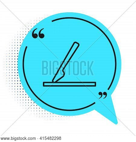 Black Line Medical Surgery Scalpel Tool Icon Isolated On White Background. Medical Instrument. Blue