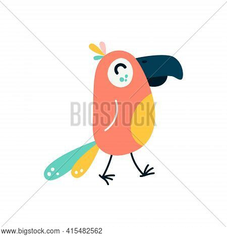 Cartoon Parrots Bird And Parrot Wild Animal Bird On A White Background. Vector Illustration