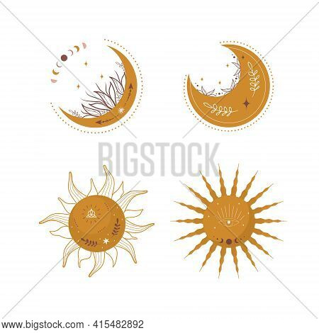 Set Of Abstract Aesthetic Moons And Suns. Scandinavian Design For Wallpaper And Home Decor. Contempo