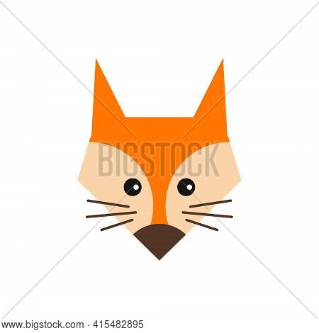Cute Fox. Vector Illustration In Simple Style, Icon Isolated On White Background