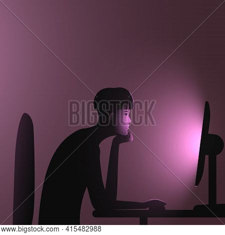 Internet Addiction. A Woman With An Undercut Bob Hairstyle Sits At A Computer Late At Night. Vector