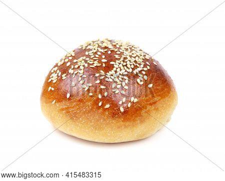 Hamburger Bun Isolated On A White Background. Sesame Seed Bun For Hamburger.