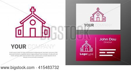 Logotype Line Church Building Icon Isolated On White Background. Christian Church. Religion Of Churc