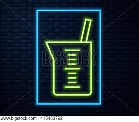 Glowing Neon Line Laboratory Glassware Or Beaker Icon Isolated On Brick Wall Background. Vector