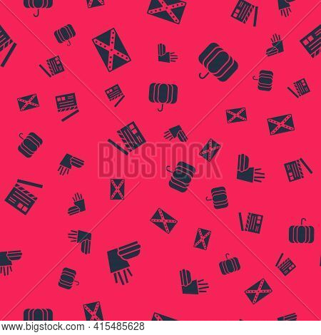 Set Burger And French Fries, Flag Confederate, Movie Clapper And Pumpkin On Seamless Pattern. Vector