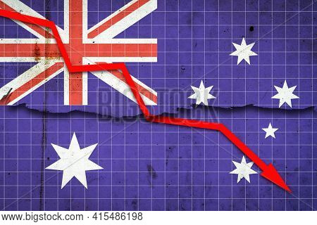 Fall Of The Australia Economy. Recession Graph With A Red Arrow On The Australia Flag. Economic Decl