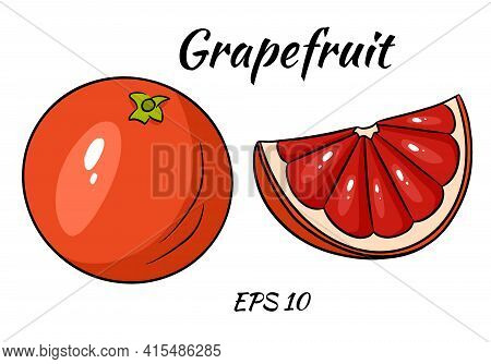 A Set Of Juicy Grapefruit. Grapefruit, Whole And Half Cut. Illustrations For Design And Decoration.