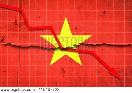 Fall Of The Vietnam Economy. Recession Graph With A Red Arrow On The Vietnam Flag. Economic Decline.