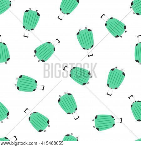 Vector Illustration On White Background, Seamless Pattern With Green Suitcases Or Travel Bags, Paper