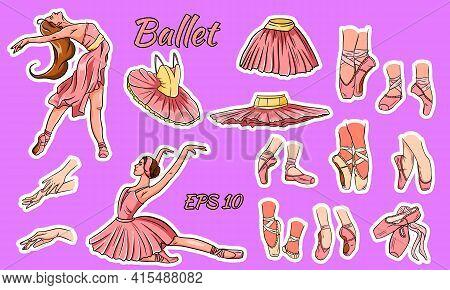 Vector Ballet Set. Ballerina And Pointe Shoes. Ballerina Feet In Ballet Shoes. Tutus And Ballet Dres