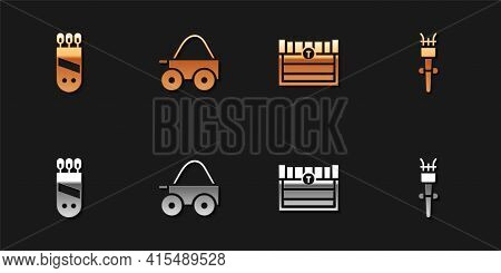 Set Quiver With Arrows, Wooden Four-wheel Cart, Antique Treasure Chest And Torch Flame Icon. Vector