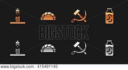 Set Slavic Pagan Idol, Dumpling, Hammer And Sickle Ussr And Pickled Cucumbers Jar Icon. Vector