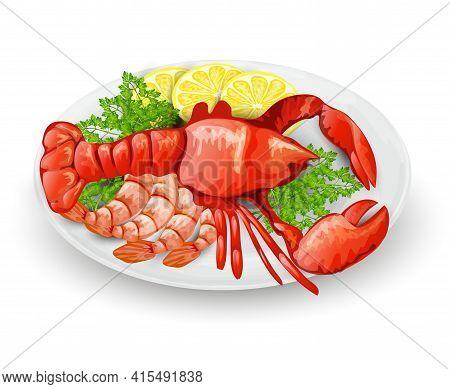 Lobster On Plate With Lemon Shrimps And Parsley Seafood Restaurant Menu Concept Vector Illustration
