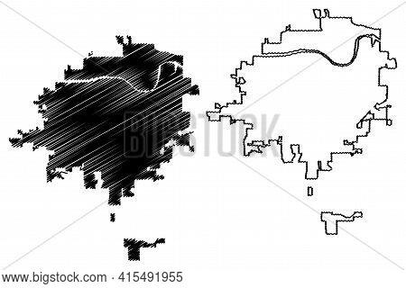 Topeka City, Kansas (united States Cities, United States Of America, Usa City) Map Vector Illustrati