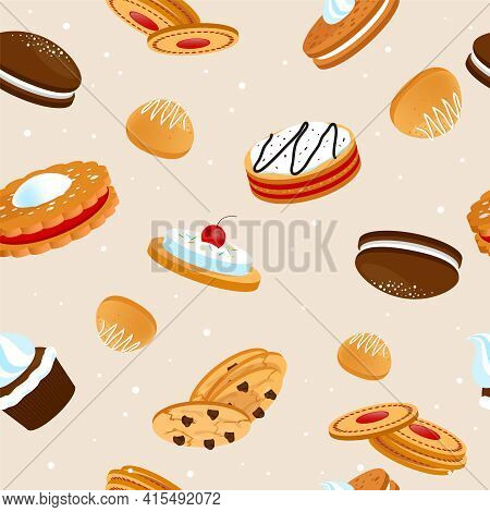 Cookies And Biscuits Seamless Pattern With Cupcakes Cakes And Crunchy Desserts With Fruits Vector Il