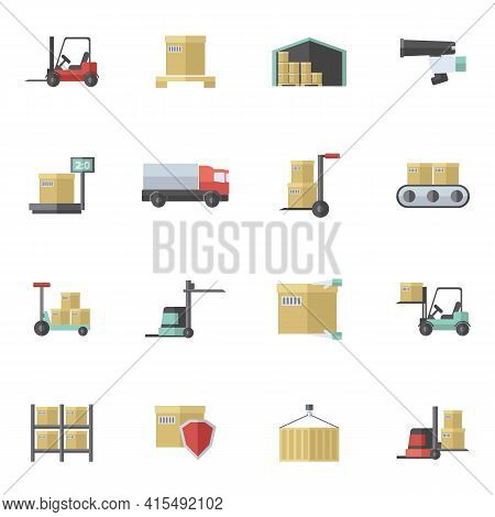 Warehouse Shipping And Logistics Freight Transportation Icons Flat Set Isolated Vector Illustration