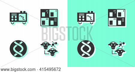 Set Cloning, Spectrometer, Dna Symbol And Periodic Table Icon. Vector