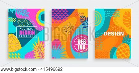 Abstract Summer Cards, Banners, Flyers With Spotty Pattern Of Geometric Figures, Line, Wave, Dot In