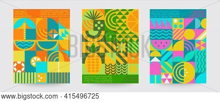 Geometric Summer Backgrounds With Simple Shapes And Figures Forming Sunglasses, Drink, Orange, Water