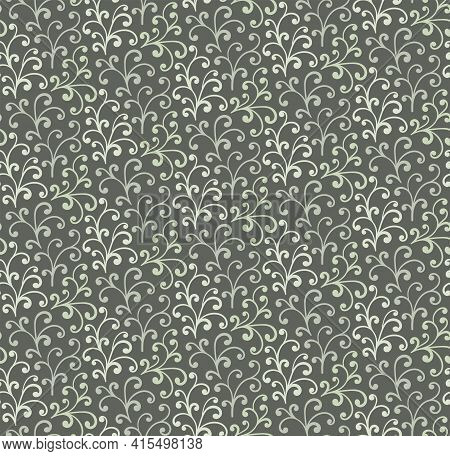 Curl Seamless Pattern. Khaki Floral Pattern For Textile, Cloth, Wrapping Paper, Cover Book. Vector I