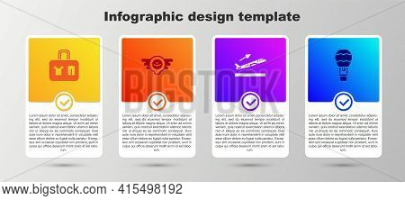 Set Suitcase, Aviation Emblem, Plane Takeoff And Hot Air Balloon. Business Infographic Template. Vec