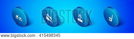 Set Isometric Snowmobile, Winter Athlete, Ice Hockey Stick And Puck And Mountain Descent Icon. Vecto
