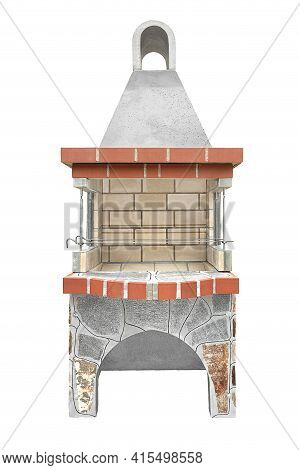 Small Barbecue Open Fireplace For Cookout Food. Outdoor Bbq Grill. Open Summer Kitchen. Barbeque Gri