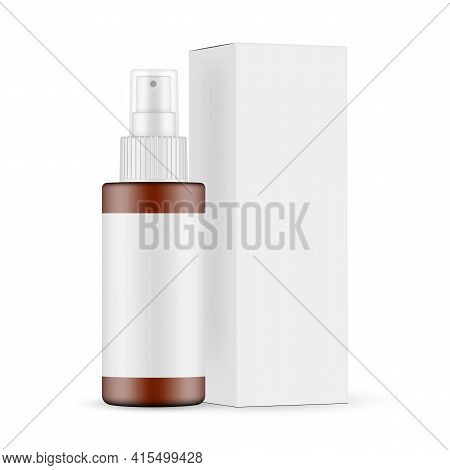Plastic Frosted Amber Spray Bottle Mockup With Blank Label, Cardboard Box Side View, Isolated On Whi