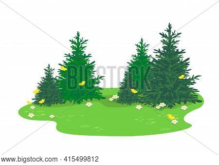 Vector Summer Landscape Of A Forest Glade With Trees, Blooming Flowers And Yellow Butterflies.