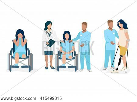 Vector Set Of Pictures Of A Disabled Girl After Amputation Of A Leg Sits In An Involuntary Wheelchai