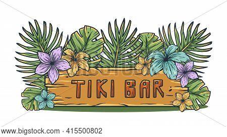 Design Of Hawaii Tiki Bar And Surfing. Ethnic Surf