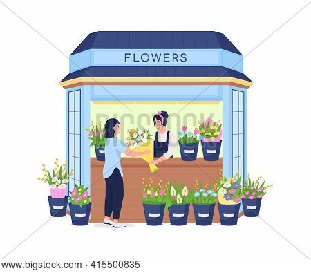 Florist Selling Flowers To Customer Flat Color Vector Detailed Character