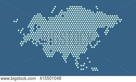 Dark Blue Hexagonal Pixel Map Of Eurasia. Vector Illustration Eurasian Continent Hexagon Map Dotted