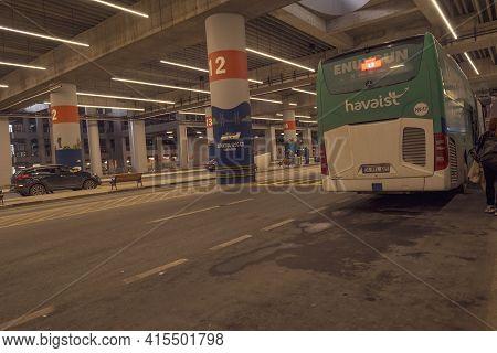 Arnavutkoy, Istanbul, Turkey - 03.11.2021: Long Shot Of Havaist Shuttle Underground Shuttle Stop And