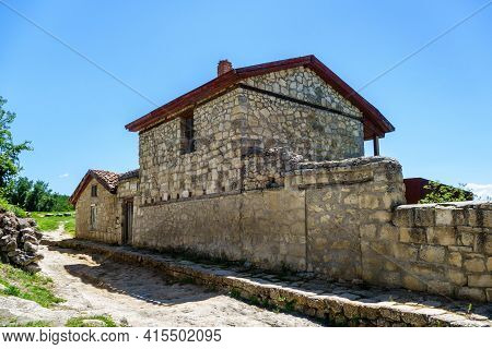 Historical Stone Houses Inside Ancient City-fortress Chufut Kale, Bakhchisaray, Crimea. They Famous