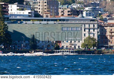 Lugano, Ticino, Switzerland - 16th March 2021 : View Of The Modern Lac (lugano Arte E Cultura) Cultu