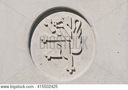 Locarno, Ticino, Switzerland - 20th March 2021 : Locarno City Emblem Detail Engraved On A Stone Wall