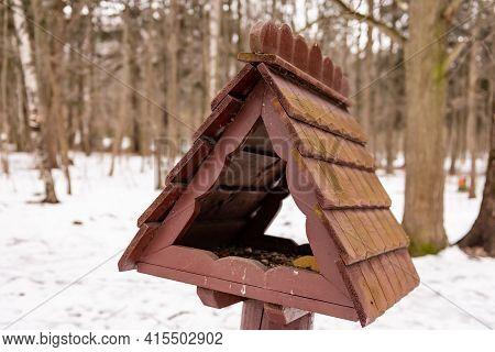 Bird Feeder In The Park. Bird Feeder With Wooden Roof.