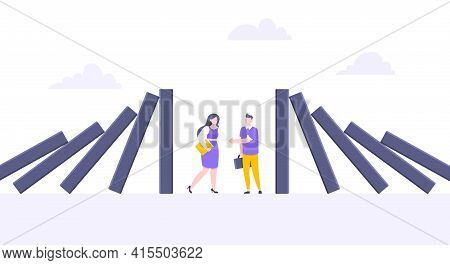 Domino Effect Or Business Resilience Metaphor Vector Illustration Concept. Business People Shaking H