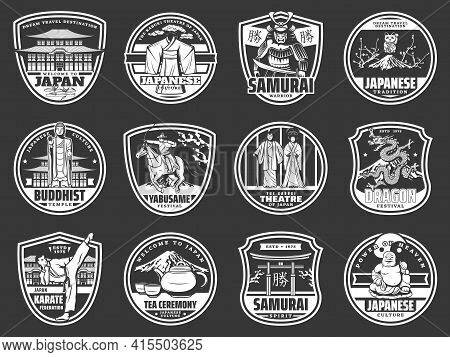 Japanese Culture, Tradition And National Landmarks, Vector Japan Travel Icons. Japanese Traditional