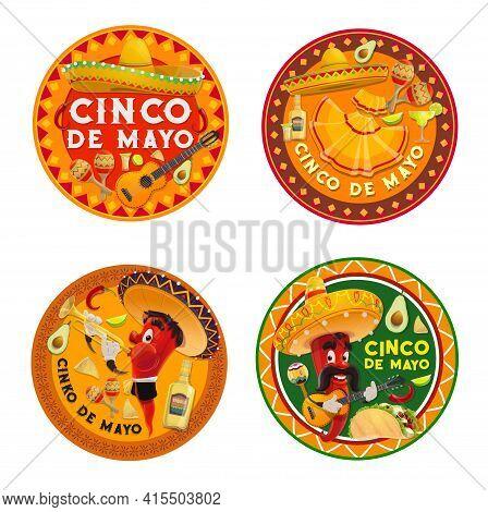 Mexican Cinco De Mayo Chilli Pepper Characters, Vector Fiesta Party Design. Cinco De Mayo Holiday So