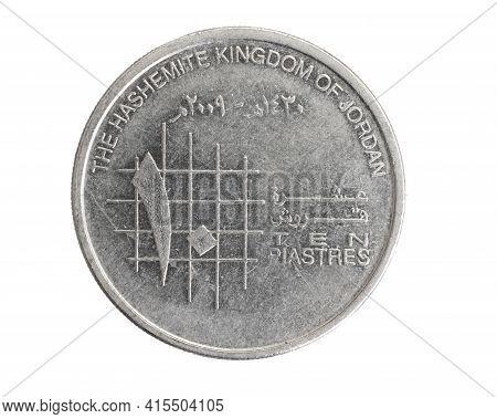 Jordan Ten Piastres Coin On A White Isolated Background
