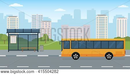 Bus And Bus Stop On Modern City Background. Concept Of Public Transport. Panoramic View. Flat Style,