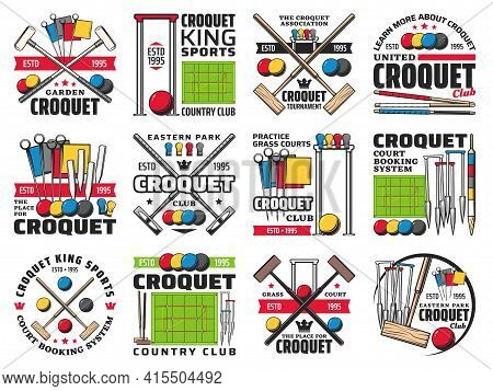 Croquet Club, Court Booking And Tournament Retro Icons. Wooden Mallet, Color Balls And Hoops, Clips